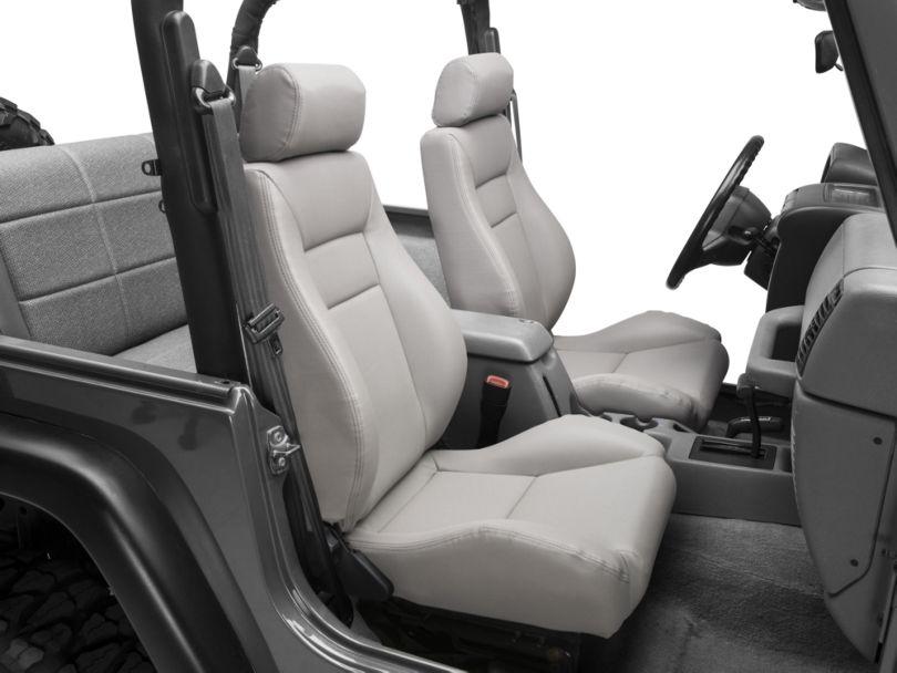 Smittybilt Seat; Front; Contour Sport Bucket w/ Recliner; Gray Denim (87-02 Jeep Wrangler YJ & TJ)