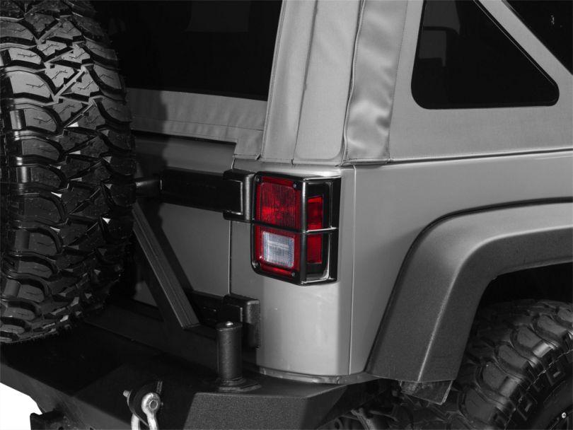 Smittybilt Euro Tail Light Guards - Black (07-18 Jeep Wrangler JK)