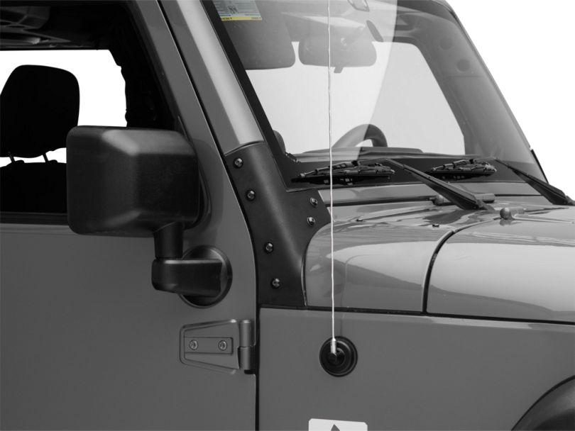 Smittybilt Windshield Brackets; Black (07-18 Jeep Wrangler JK)