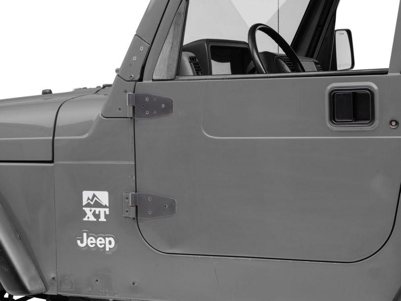 Smittybilt Half/Full Door Hinges - Black (87-06 Jeep Wrangler YJ & TJ w/ Half Steel Doors; 00-06 Jeep Wrangler TJ w/ Full Steel Doors)