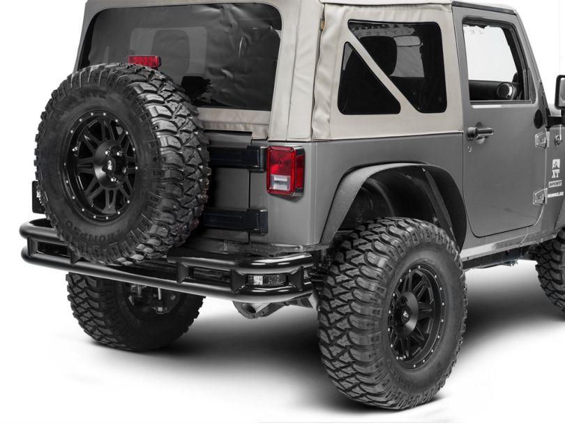Smittybilt Tubular Rear Bumper without Hitch; Gloss Black (07-18 Jeep Wrangler JK)