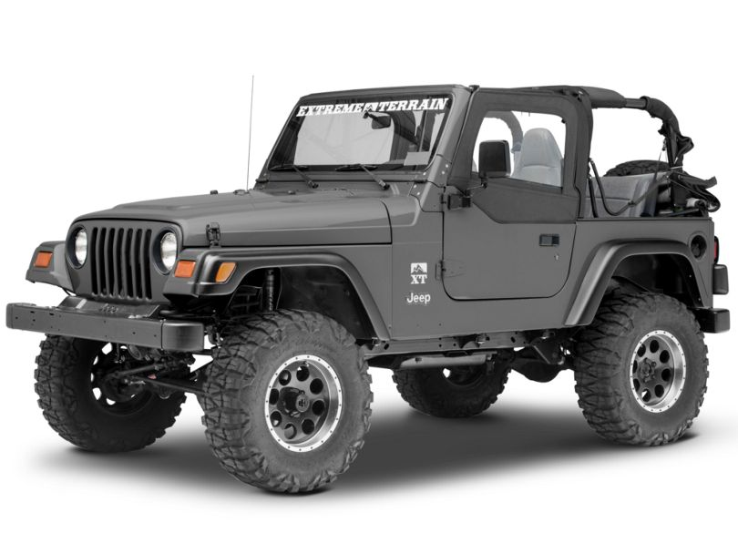 Smittybilt Soft Top Door Skin w/ Frame & Clear Windows - Driver Side - Black Denim (97-06 Jeep Wrangler TJ)