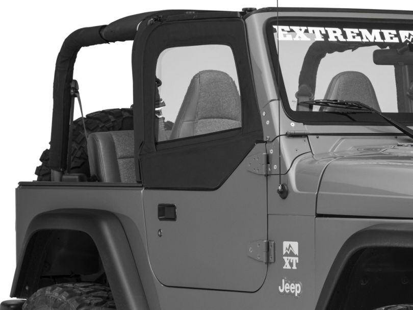 Smittybilt Soft Top Door Skins w/ Clear Windows - Black Diamond (97-06 Jeep Wrangler TJ)
