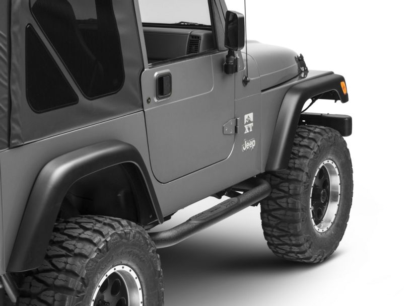 Smittybilt 3 in. Sure Side Step Bars - Textured Black (97-06 Jeep Wrangler TJ, Excluding Unlimited)