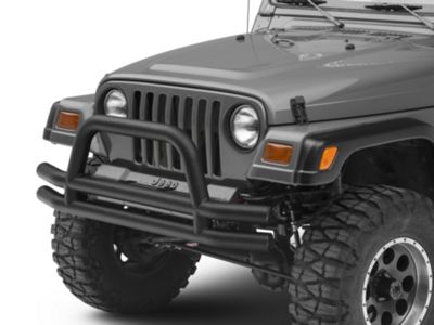 Add Smittybilt Tubular Front Bumper w/ Hoop - Textured Black (87-06 Wrangler YJ & TJ)