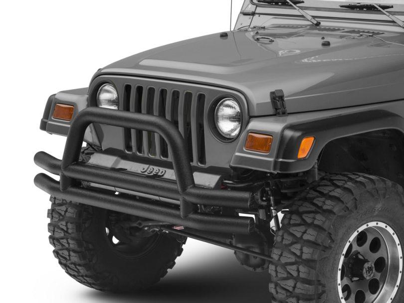 Smittybilt Tubular Front Bumper w/ Hoop - Textured Black (87-06 Jeep Wrangler YJ & TJ)