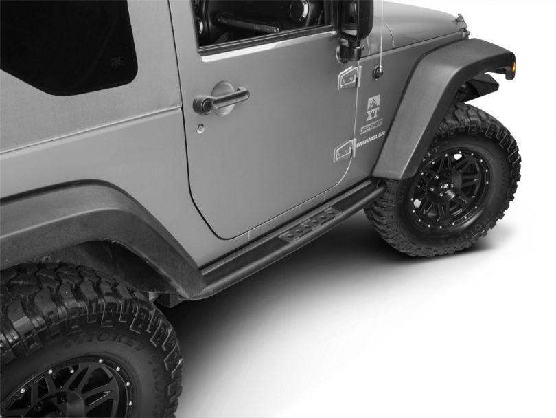 Smittybilt SRC Classic Rock Rails with Step; Textured Black (07-18 Jeep Wrangler JK 2 Door)