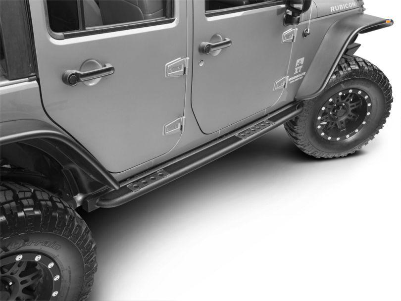 Smittybilt SRC Classic Rock Rails with Step; Textured Black (07-18 Jeep Wrangler JK 4 Door)