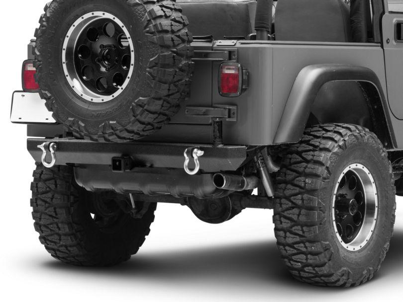 Smittybilt SRC Classic Rear Bumper w/ D-Rings - Textured Black (87-06 Jeep Wrangler YJ & TJ)