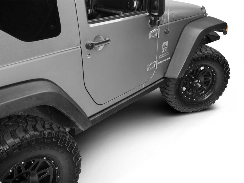 Smittybilt SRC Classic OEM Style Rock Rails - Black Textured (07-18 Jeep Wrangler JK 2 Door)