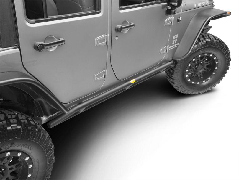 Smittybilt SRC Rocker Guards - Black Textured (07-18 Jeep Wrangler JK 4 Door)