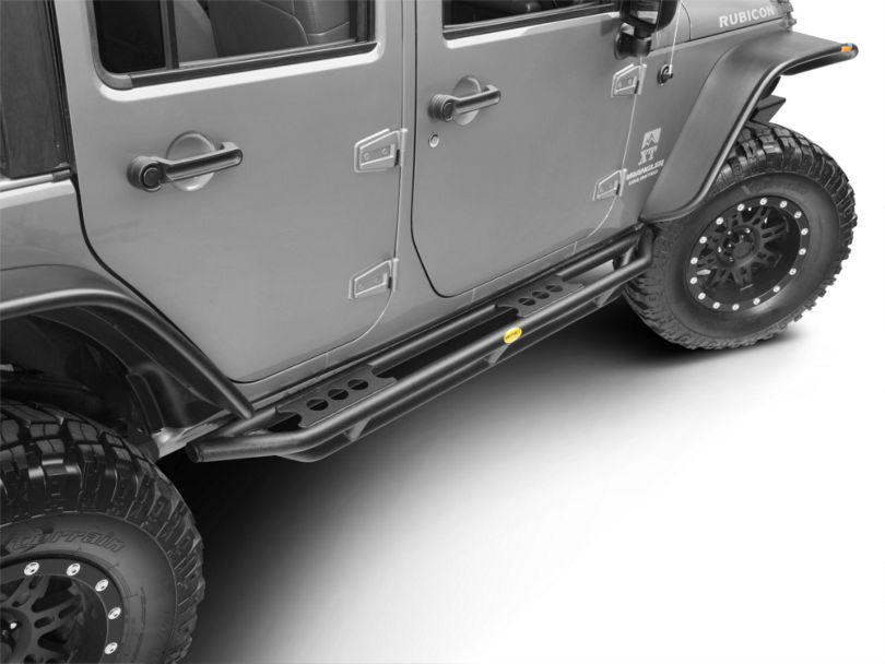 Smittybilt SRC Side Armor - Textured Black (07-18 Jeep Wrangler JK 4 Door)
