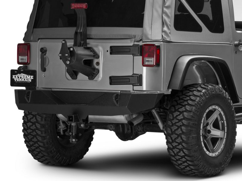Off Camber Fabrications by MBRP Spare Tire Relocate Bracket; Black Coated (07-18 Jeep Wrangler JK)