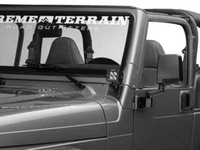 Off Camber Fabrications by MBRP Windshield Hinge Mounting Brackets - Textured Black (97-06 Jeep Wrangler TJ)