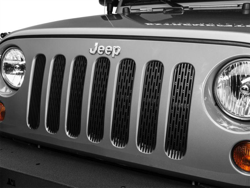 DV8 Off-Road Grille Inserts - Black (07-18 Jeep Wrangler JK)