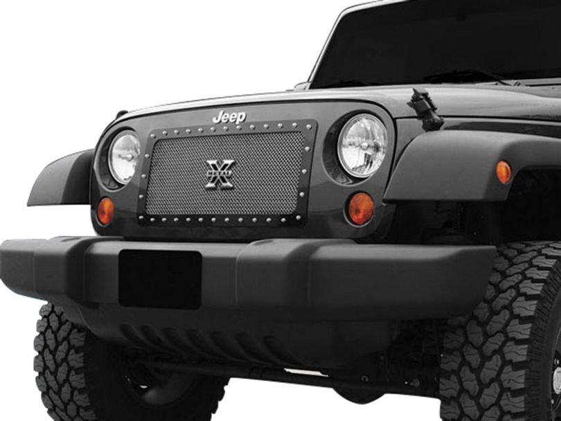 T-REX X-Metal Series, Studded Main Grille - Polished Stainless Steel (07-18 Jeep Wrangler JK)