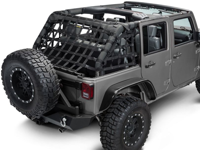 Dirty Dog 4x4 3-Piece Rear Netting Kit; Black (07-18 Jeep Wrangler JK 4 Door)