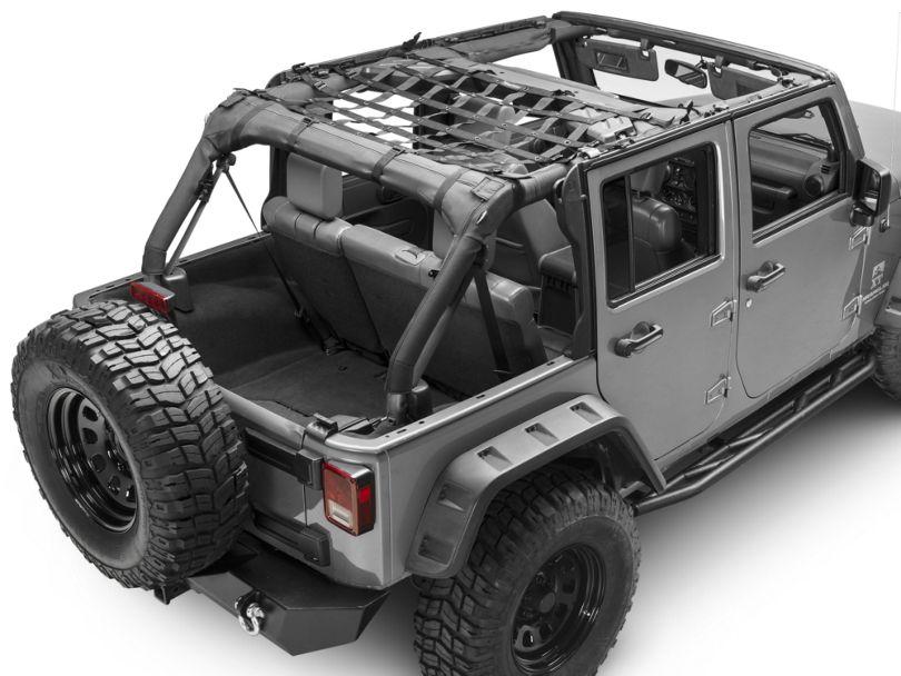 Dirty Dog 4x4 Rear Seat Netting - Black (07-18 Jeep Wrangler JK 4 Door)