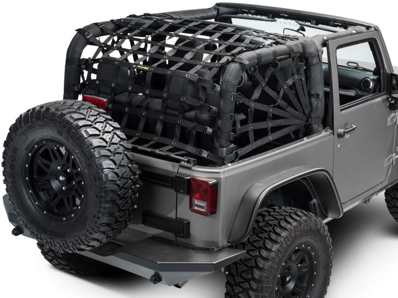 Dirty Dog 4x4 Rear Spider Netting - Black (07-18 Jeep Wrangler JK 2 Door)
