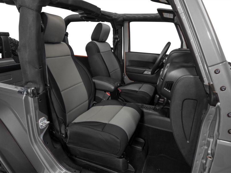 Rugged Ridge Neoprene Front Seat Covers; Black/Gray (11-18 Jeep Wrangler JK)