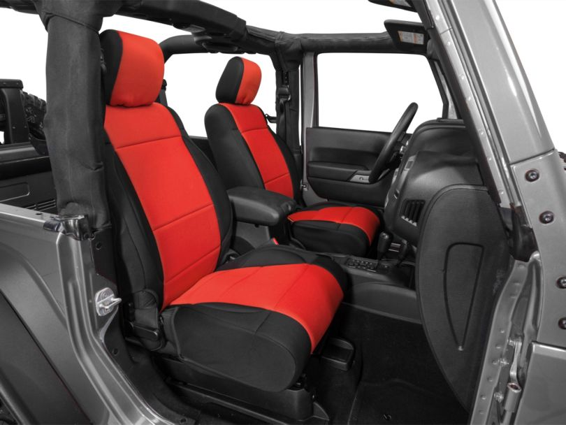 Rugged Ridge Neoprene Front Seat Covers; Black/Red (11-18 Jeep Wrangler JK)