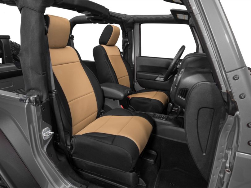 Rugged Ridge Neoprene Front Seat Covers; Black/Tan (11-18 Jeep Wrangler JK)