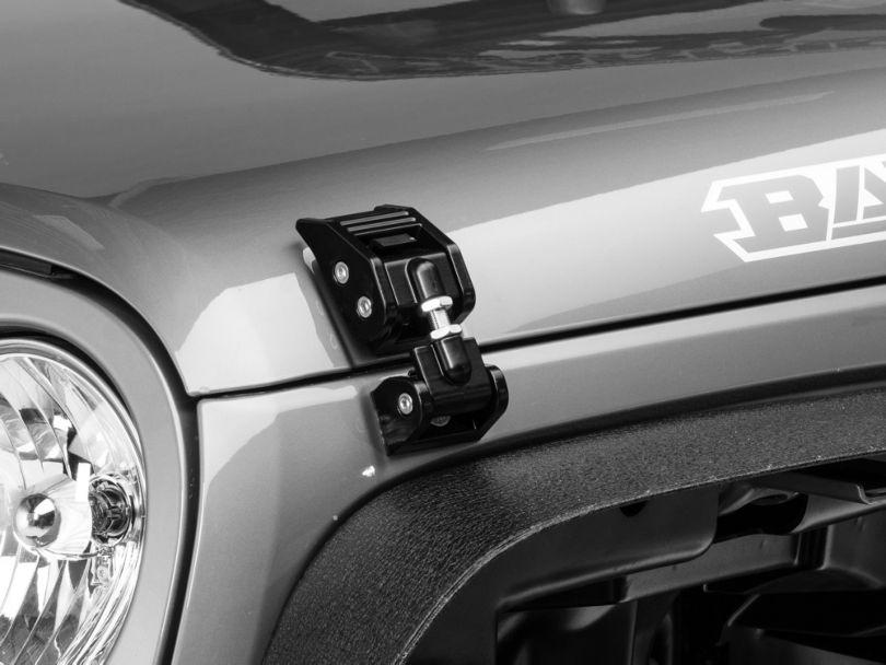 Rugged Ridge Aluminum Hood Catch Kit - Black (07-18 Jeep Wrangler JK)