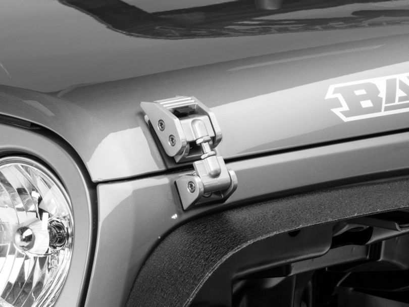Rugged Ridge Aluminum Hood Catches - Silver (07-18 Jeep Wrangler JK)