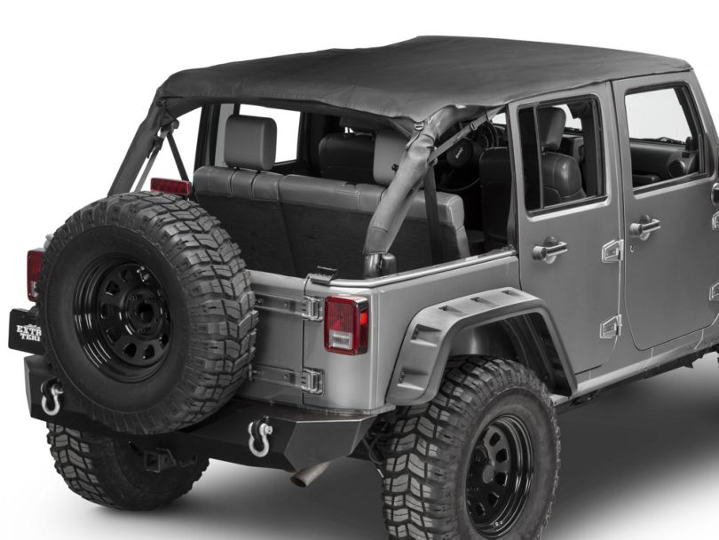 Bestop Safari Bikini Top w/ Windshield Channel - Cable Style - Black Diamond (10-18 Jeep Wrangler JK 4 Door)