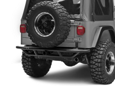 Add Rugged Ridge RRC Rear Bumper w/ Tire Carrier Provision - Textured Black (87-06 Wrangler YJ & TJ)