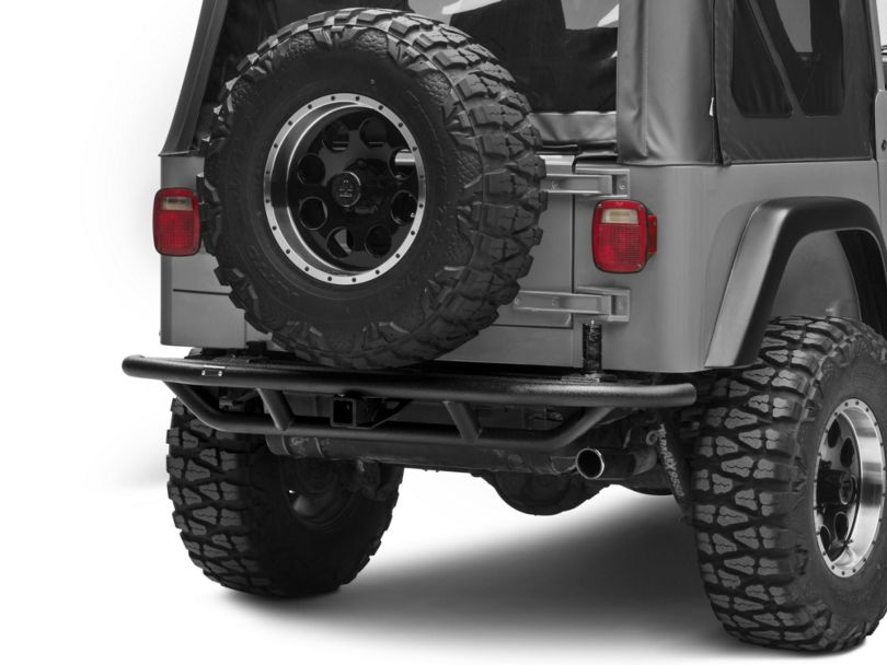 Rugged Ridge RRC Rear Bumper with Tire Carrier Provision; Textured Black (87-06 Jeep Wrangler YJ & TJ)