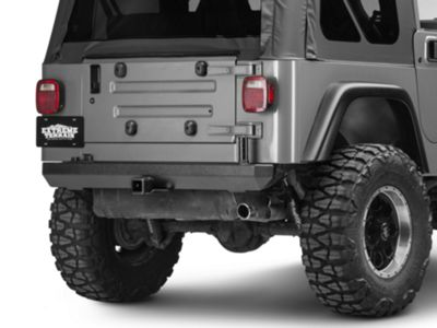 Add Rugged Ridge Rock Crawler Rear Bumper w/ Post for Carrier (87-06 Wrangler YJ & TJ)