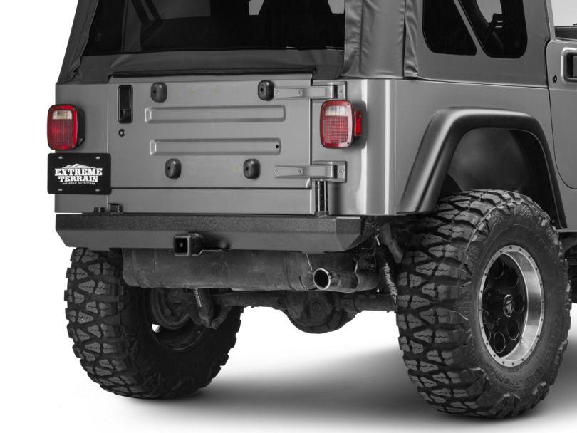 Rugged Ridge Rock Crawler Rear Bumper w/ Post for Carrier (87-06 Jeep Wrangler YJ & TJ)