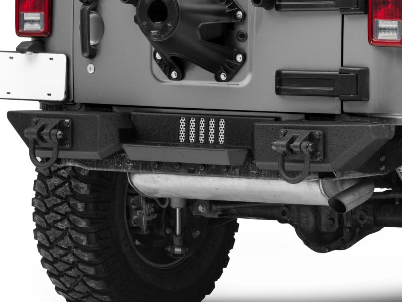 Rugged Ridge Aluminum XHD Rear Bumper Pod Center Step - Textured Black (07-18 Jeep Wrangler JK)