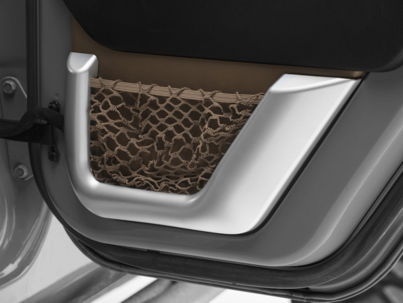 Rugged Ridge 2nd Row Door Net Trim - Brushed Silver (11-18 Jeep Wrangler JK)