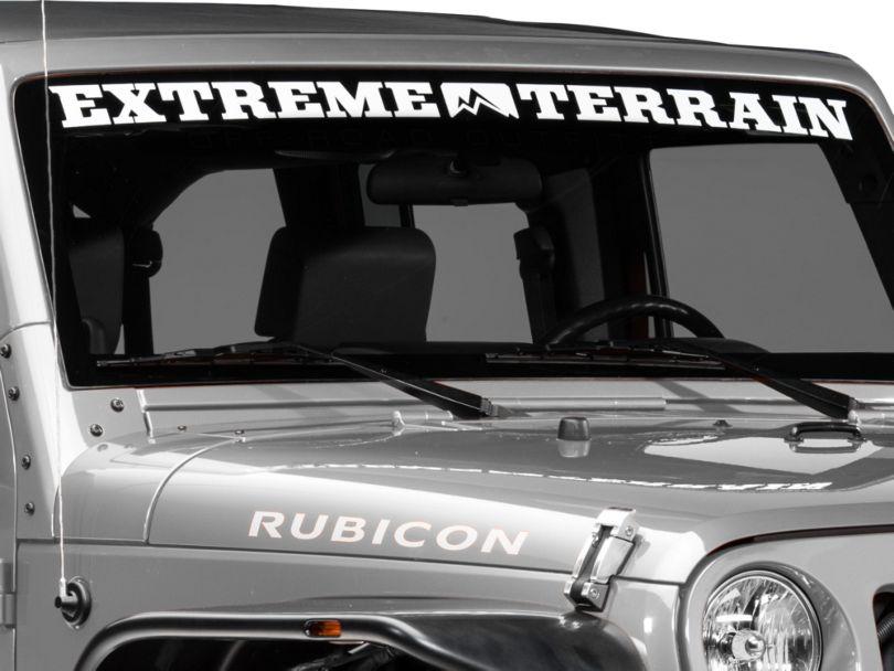 ExtremeTerrain Windshield Banner; White (87-20 Jeep Wrangler YJ, TJ, JK & JL)