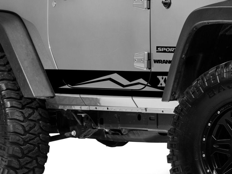 Rocker Panel Stripe w/ Logo - Black (07-18 Jeep Wrangler JK 2 Door)