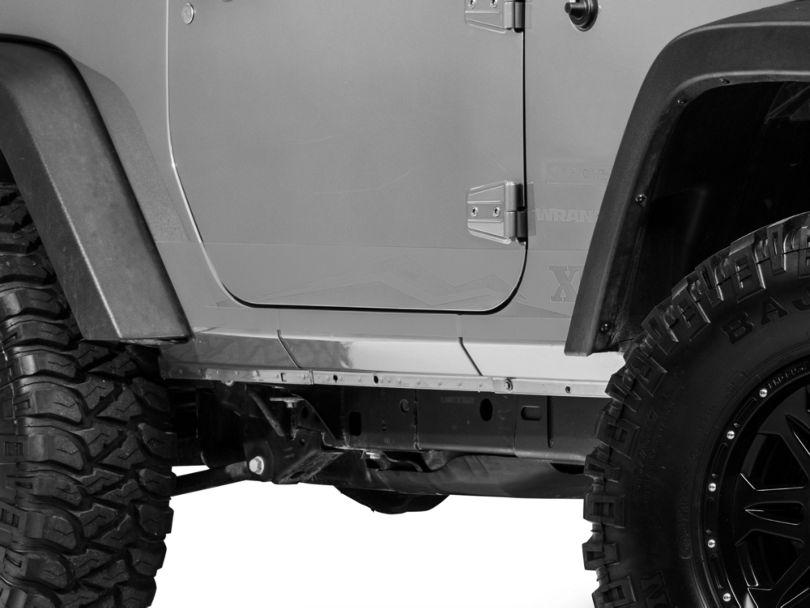 Rocker Panel Stripe w/ Logo - Silver (07-18 Jeep Wrangler JK 2 Door)