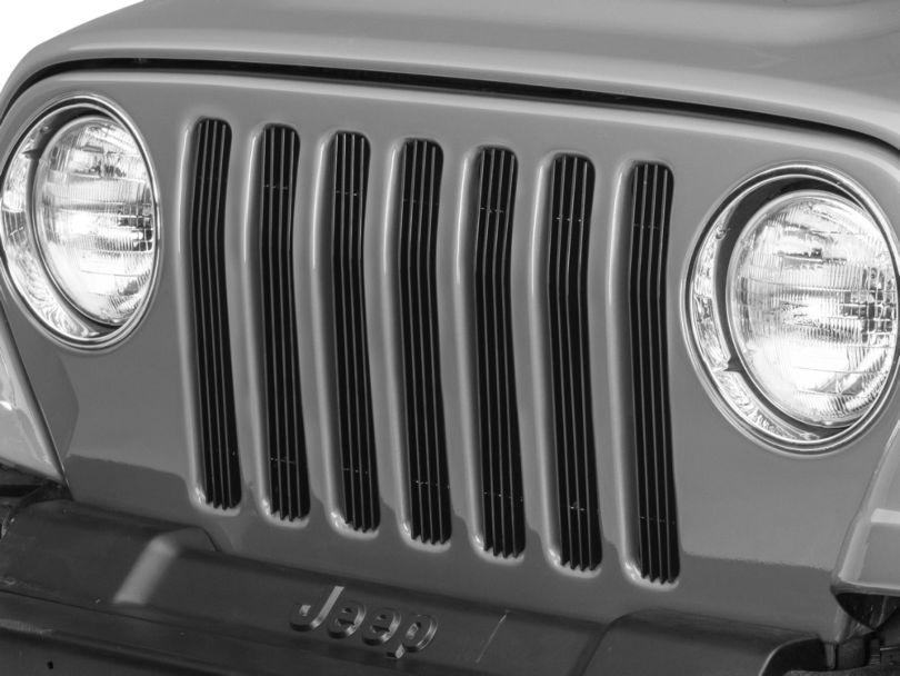 RedRock 4x4 Billet Grille Inserts; Black (97-06 Jeep Wrangler TJ)
