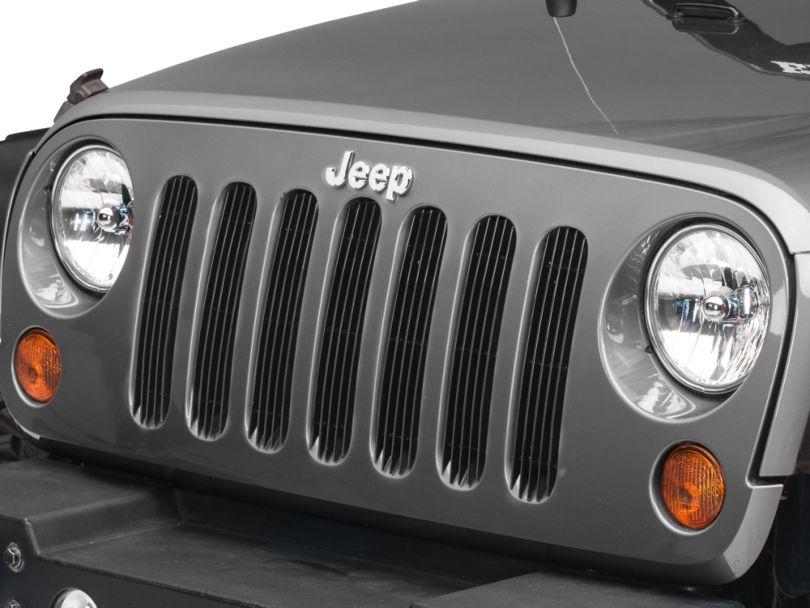 RedRock 4x4 Billet Grille Inserts - Black (07-18 Jeep Wrangler JK)