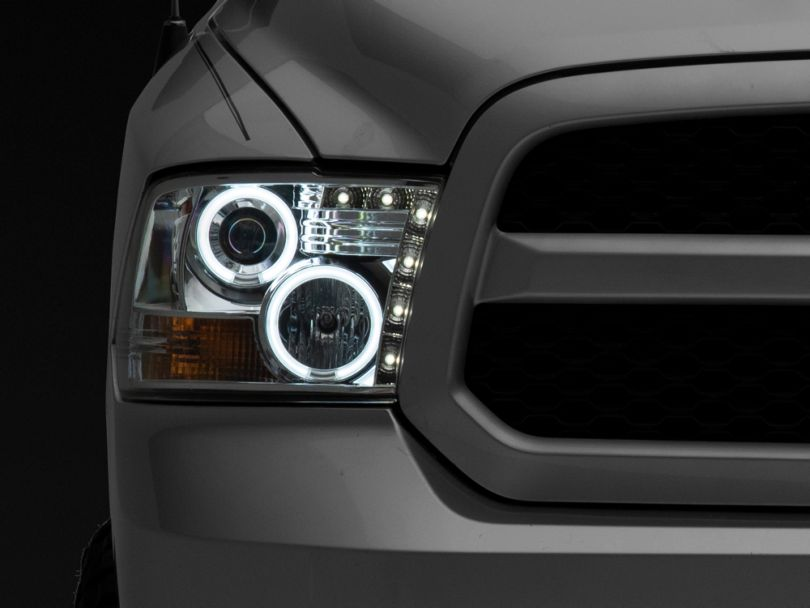 CCFL Halo Projector Headlights; Chrome (09-18 RAM 1500 w/o Projector Headlights)