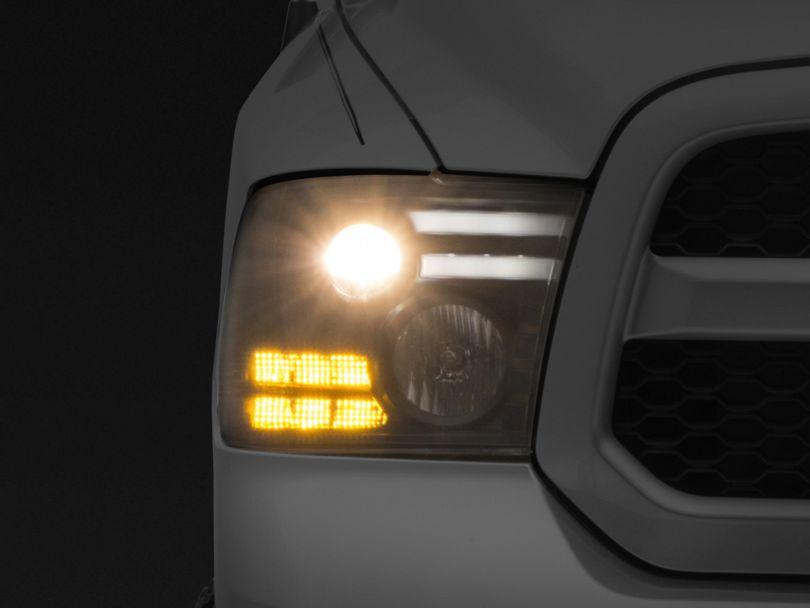 Light Bar DRL Projector Headlights; Black (09-18 RAM 1500)
