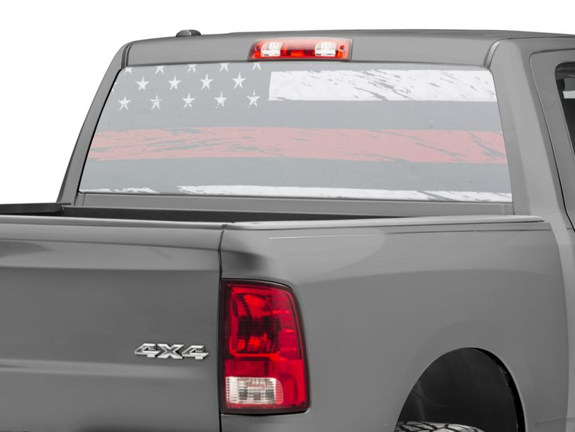 SEC10 Perforated Real Flag Rear Window Decal w/ Red Line (02-20 RAM 1500)