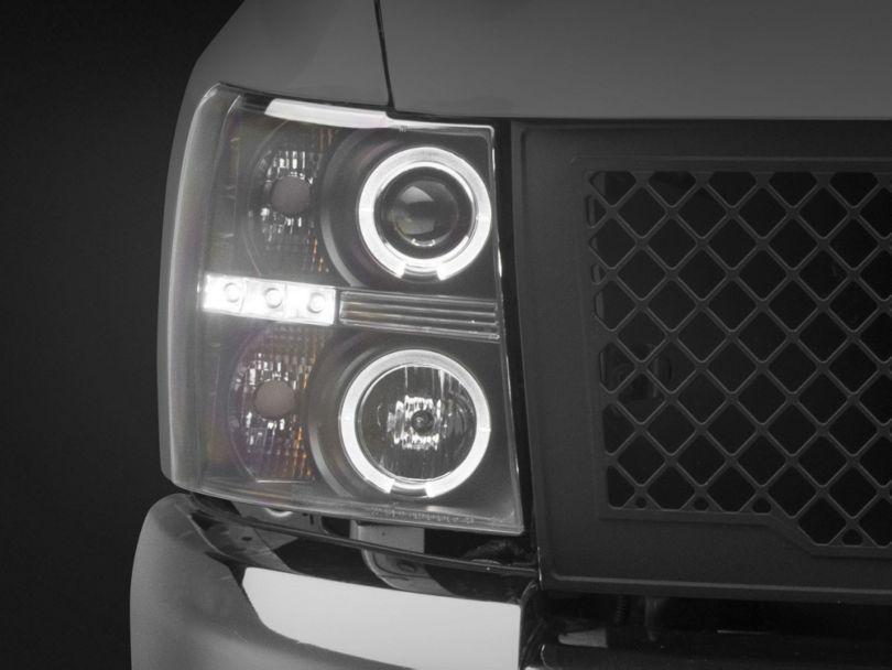 Black Projector Headlights w/ LED Halo (07-13 Silverado 1500)