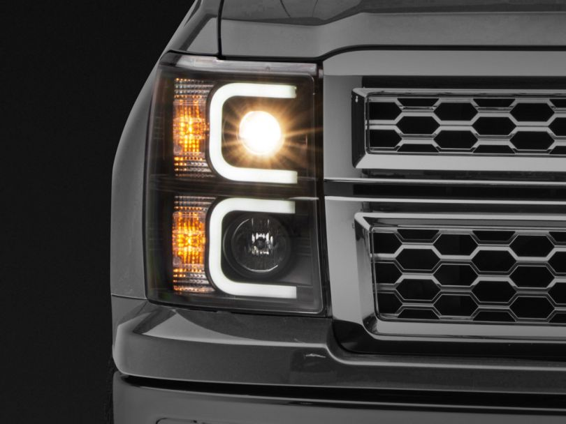 Light Bar DRL Projector Headlights - Black (14-15 Silverado 1500)