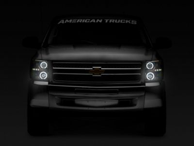 Black Projector Headlights w/ LED Halos & Daytime Running Lights - Smoked Lens (07-13 Silverado 1500)