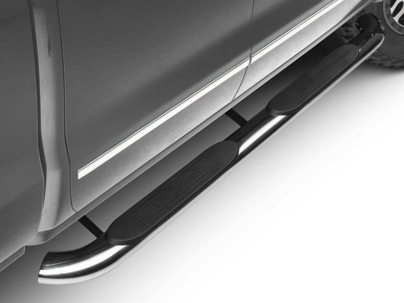 Barricade 4-Inch Oval Bent End Side Step Bars; Rocker Mount; Stainless Steel (14-18 Silverado 1500)