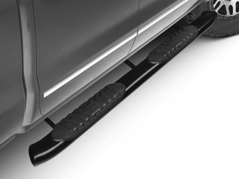 Barricade 5 in. Oval Bent End Rocker Mount Side Step Bars - Black (14-18 Silverado 1500)