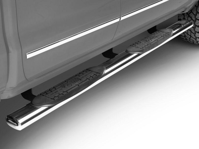 Raptor Series 5-Inch Magnum Straight Oval Side Step Bars; Rocker Mount; Stainless Steel (14-18 Silverado 1500)