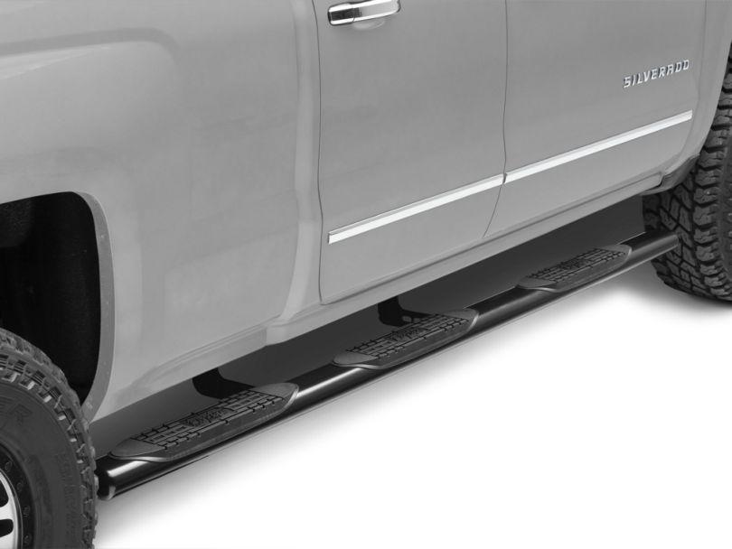 Raptor Series 4 in. Oval Wheel to Wheel Body Mount Side Step Bars - Black (99-13 Silverado 1500 Extended Cab w/ Standard Box)